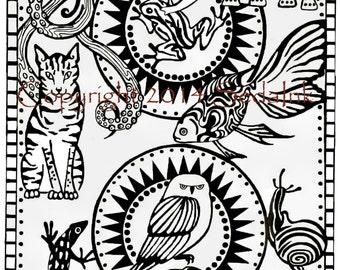 Original Artwork Animal Playing Card, Pen and Ink Design Archival Print Pen and ink 5x7, Playing Card