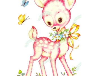 Extra Large, Vintage Digital download, Pink Bambi, Vintage greeting card, Printable, image, Cards, Scrapbooking, Vintage collage sheet