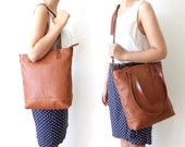 Leather Tote Bag in Light Brown -  Light Brown Leather Handles - Adjustable Detachable Leather Strap - Zipper Closure