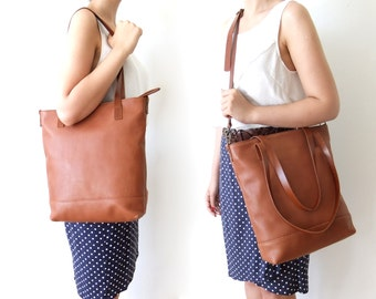 Brown Leather Handbag - Leather Tote Bag  -  Light Brown Leather Handles - Adjustable Detachable Leather Strap - Zipper