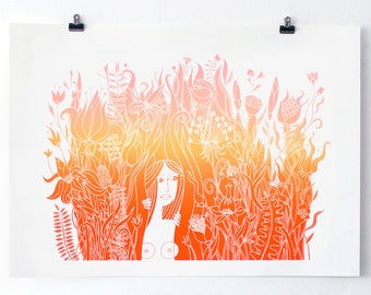 Spice Garden - Original Screenprint - Girl in the Jungle - Nude - Water based inks - Limited edition