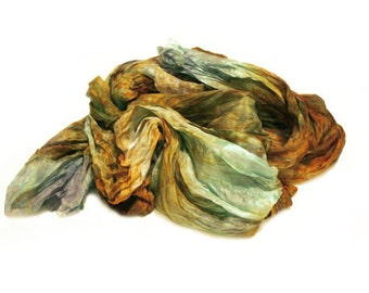 olive silk scarf - Iceland Adventure  -  brown, olive, grey, green silk scarf