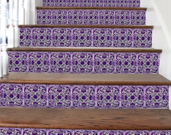 15 Stair riser decal: Removable - Aubergine  Lisbon style = 10 strips with 124cm length