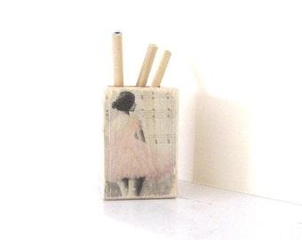 Shabby Chic Wooden Pen Holder , Pink Decoupage Pencil Organizer , Ballerina Shabby  Chic Office Decor