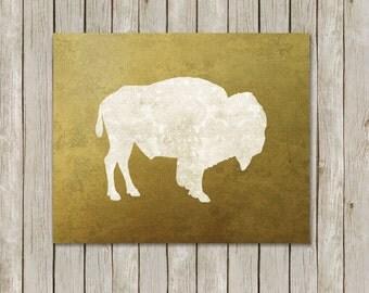8x10 Buffalo Gold Damask Art Print, Bison Printable Art, Gold Wild Game Print, Nursery Wall Art, Home Decor, Poster Instant Digital Download