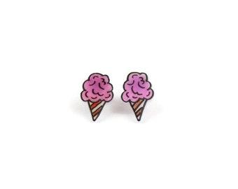 Sweet Pink Fairy Floss Earrings, Shrink Plastic, Surgical Steel Posts, Girls Earrings