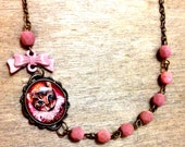 Pink Geeky Kitsch Fancy Royal Cat unique pendant Charm, Glass Czech beads, Pink bow, antique bronze color chain- statement necklace