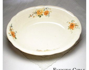 Vintage Serving Bowl, oval ceramic bowl, orange and yellow, flower print, shabby decor, country wedding, country kitchen, unmarked ceramics