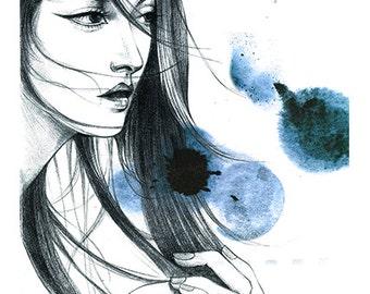 Fashion illustration, Fashion wall art , Fashion art print , Teen girl room art , Dressing room wall art