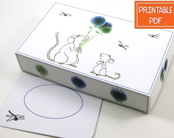 Paper Gift Box - Balloon Mouse - Instant Download PDF , DIY Printable Favor Box , Garden , Small Digital Packaging Template , Craft Supplies