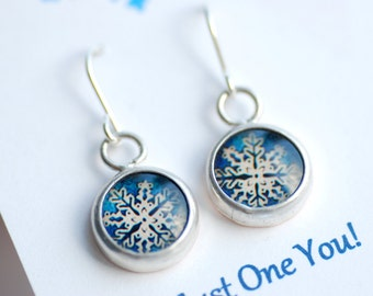 Snowflake Earrings, Blue and White Earrings, Inspirational Jewelry, Personalized Jewelry, Winter Jewelry, Be Unique, Snowflake Jewelry