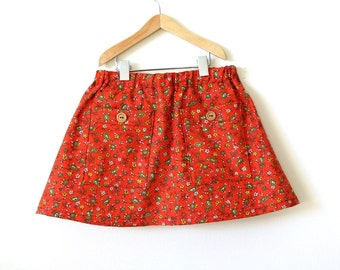 GIRLS SKIRT with pockets / size 8 / vintage calico fabric