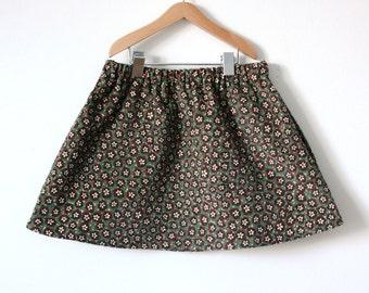 GIRLS SKIRT / 2T / tiny floral / vintage corduroy cotton