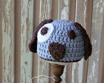 Crochet Baby Hat - Baby Puppy Hat - Baby Boy - Puppy Baby Hat - Crochet Puppy Hat - Newborn Puppy Hat - Crochet Animal Hats