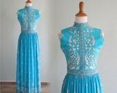 Vintage 1960s Dress - Slinky Aqua Jersey Fleur De Lys Dress by Maurice - 60s Designer Jersey Dress M