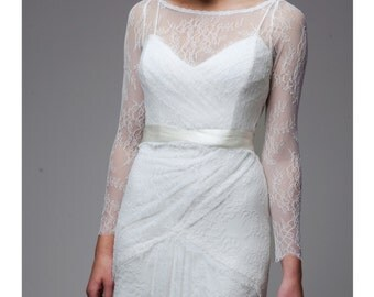 """Long Sleeve, Bateau Neck, Chantilly-Style Lace, Low Back, Wrap Style, The """"Brooke Top"""""""