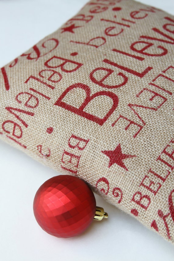 Shabby Chic Christmas Pillows : Burlap Pillow Believe Shabby Chic Christmas Red and