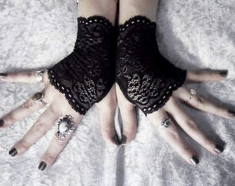 Lace Gloves | Black Floral Fingerless | Gothic Vampire Lolita Mittens Wedding Gloves Belly Dance Goth Bohemian Bridal Gloves Deco | Gessekai