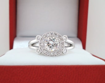 Diamond Engagement Ring, Unique Bridal Ring 18k White Gold 0.93 Carat Halo Pave Certified Handmade