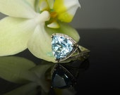 Reserved final payment listing Blue Topaz Ring Silver, Blue Topaz Trillion Cut Ring, Sterling Silver, Natural Blue Topaz.