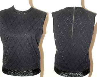 Women's Vintage 1960's Beaded Lambswool Angora Sweater Tank Sleeveless Top Med/Large Excellent Condition