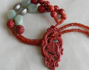 Cinnabar dragon pendant w carved coral & carnelian beads necklace , beaded jewelry , Chinese vintage silver , cinnabar jewelry , Asian style