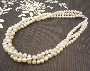 Very Lovely and Elegant, Three Strand 6mm Cream Glass Pearl Twist Decoration Necklace