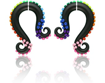 Rainbow Fake Gauge Earrings, Rainbow Octopus Tentacles Gauges, Polymer Clay, 6g 5g 4g 3g 2g 1g 0g 00g 000g 7/16 0000g 1/2 9/16 5/8 11/16 3/4