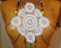 CROCHET Body Chain // Beaded Body Harness // Lace Top // Festival Clothing // Burning Man // Coachella // Statement Jewelry