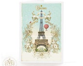 Eiffel Tower, Christmas card, Paris, snow, Cherub gold frame, hot air balloon, Christmas in Paris, French, vintage style, holiday card
