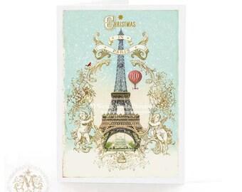Eiffel Tower, Christmas card, Paris, snow, Cherub gold frame, hot air balloon, Christmas in Paris, French, vintage style, holiday card