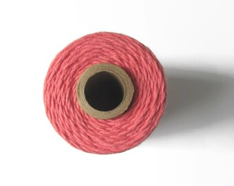 Coral Pink Bakers Twine - Strawberry Solid Twinery - Craft Packaging - Invitation Wrapping String - Scrapbooking - 240 Yards Full Spool Cord