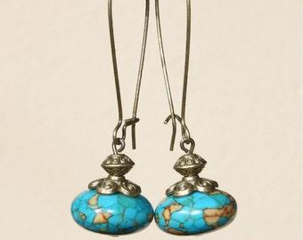 Blue Earrings Turquoise Earrings Semi Precious Earrings Dangle Stone Earrings  Boho Chic Earrings Long Earrings Gift For Her Gift Ideas