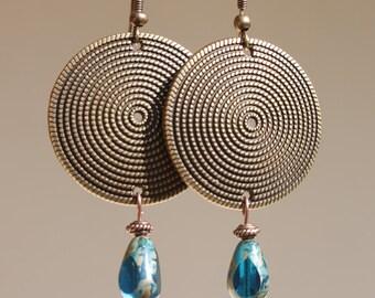 Bohemian Earrings Boho Earrings Brass Earrings Blue Earrings Dangle Czech Earrings Jewelry Gift Ideas Gift For Her Gift Ideas