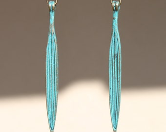 Turquoise Earrings Leaf Patina Earrings Dangle Boho earrings Jewelry Earrings Lightweight  Long Slim earrings