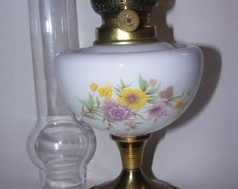Vintage lamp kerosene / oil decorated - Oil lampe