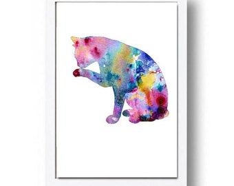 Watercolor Print Cat Illustration Watercolor Painting Watercolor Nursery Kids Room Art
