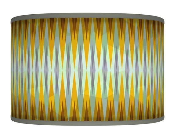yellow mustard grey retro handmade giclee style printed fabric lamp. Black Bedroom Furniture Sets. Home Design Ideas