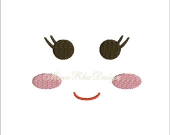 Doll Face Machine Embroidery Design  Instant Download