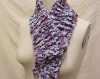 Hand Knit Scarf, Fuzzy Scarf, Purple, Lavender & White Scarf, Knit Scarf