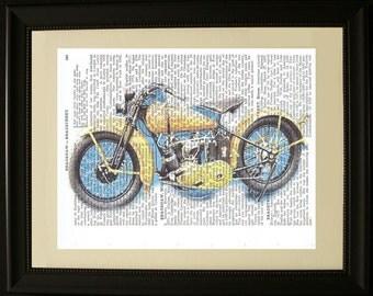 """Vintage Motorcycle Print- Printed on Vintage Encyclopedia Paper- Approx. 8"""" x 10"""""""