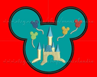 Cute mouse Castle Filled Head Applique Design  3 sizes 4X4, 5X7 and 6X10 Instant Download
