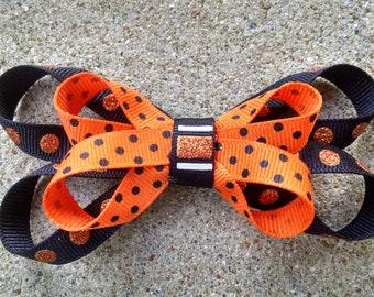 Halloween Hair Bow on Alligator Clip - Orange & Black Polka Dots
