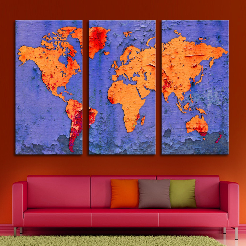 3 Panel Split Art World Map Canvas Print Triptych For: 3 Panel Triptych World Map Canvas Print With Digital Flake