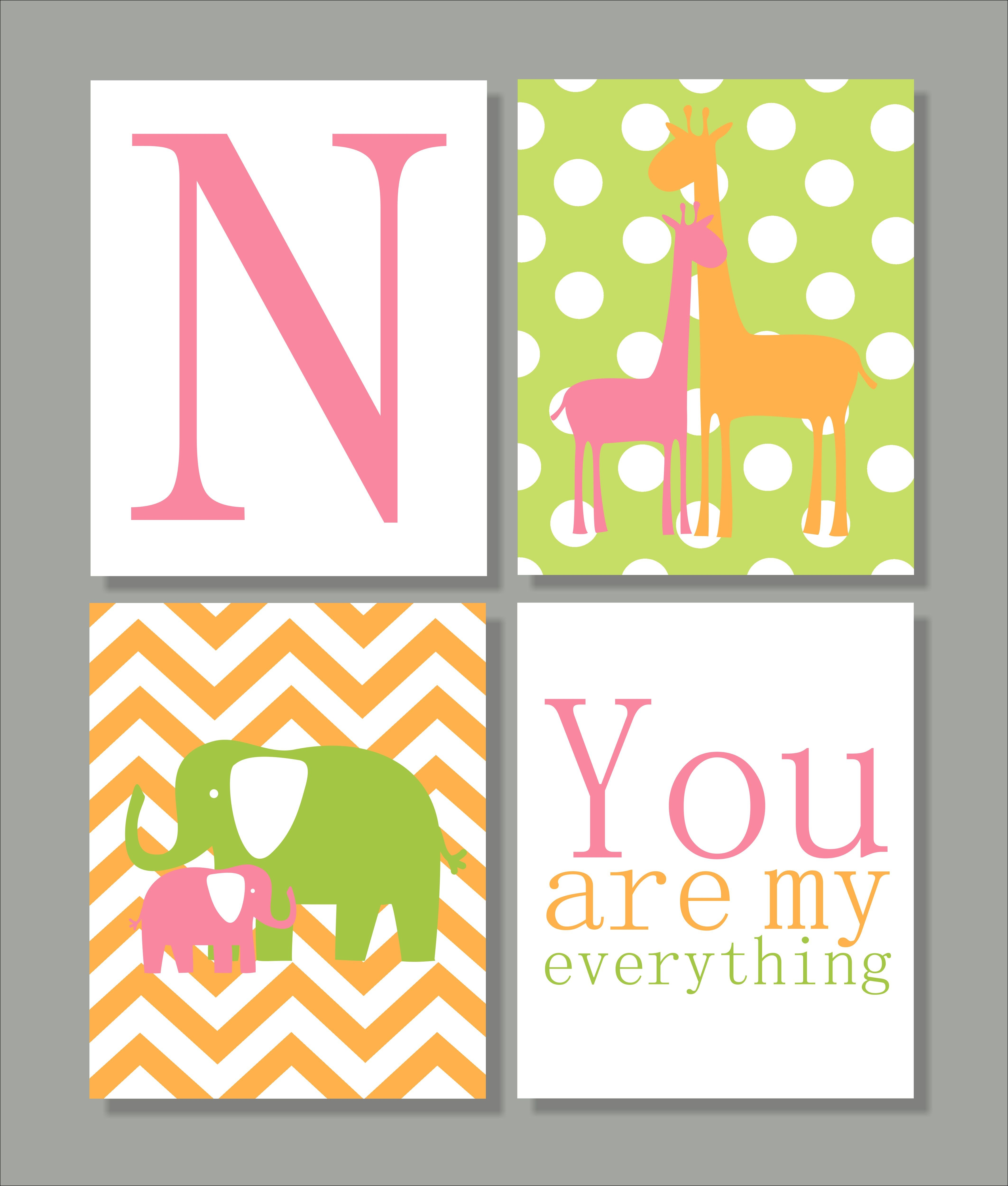 giraffe and elephant nursery print