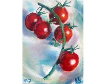 Tomatoes on the Vine (May 2014), original still life oil painting on box canvas