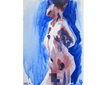 Complementary 4 (June 2014) original oil painting on paper nude female model mature