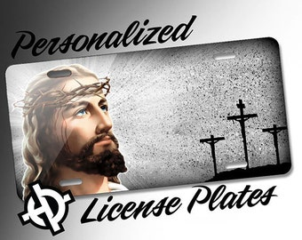 Jesus Christ Crosses -AT1071- Airbrush License Plates Personalized Custom Auto Tags Christian