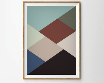 Mid century poster, Retro poster, retro art print, Geometric Poster, Abstract Prints Posters, Geometric Art Print,