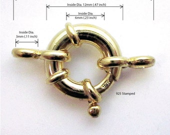 Thick Nautical Spring Ring Clasp 14K Yellow Gold 2.20 gram over 925 Silver 12mm